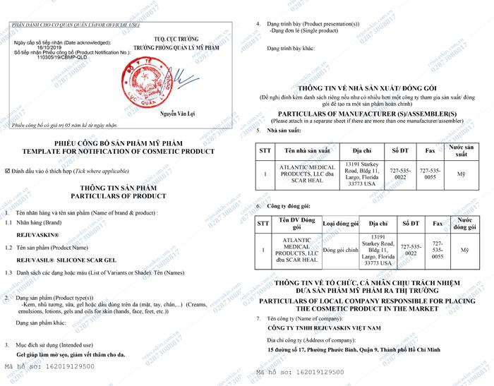 Phiếu công bố sản phẩm sản phẩm gel xóa mờ sẹo Scar Rejuvasil của Rejuvaskin