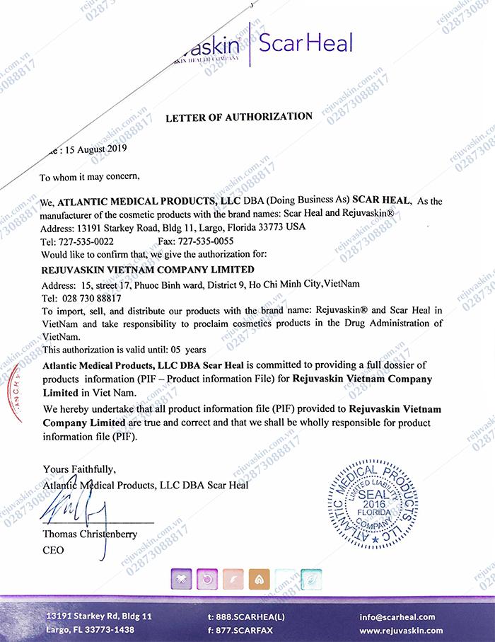 Thư ủy quyền của thương hiệu Rejuvaskin Hoa Kỳ