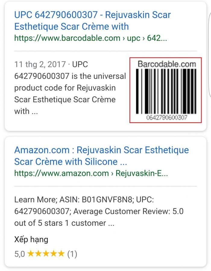 Ca san pham va ma vach se hien trung khop tren Google