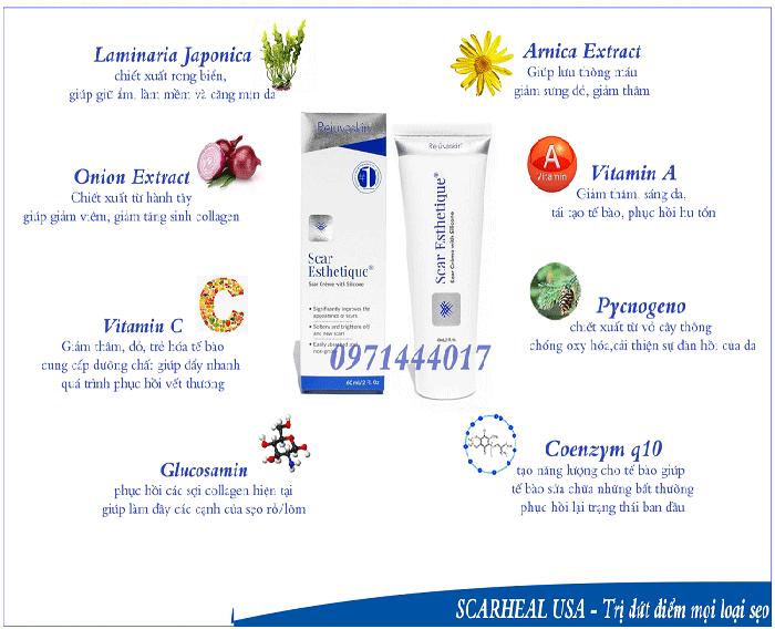 Thành phần thảo được đặc biệt được chứa bên trong tuýp kem điều trị sẹo